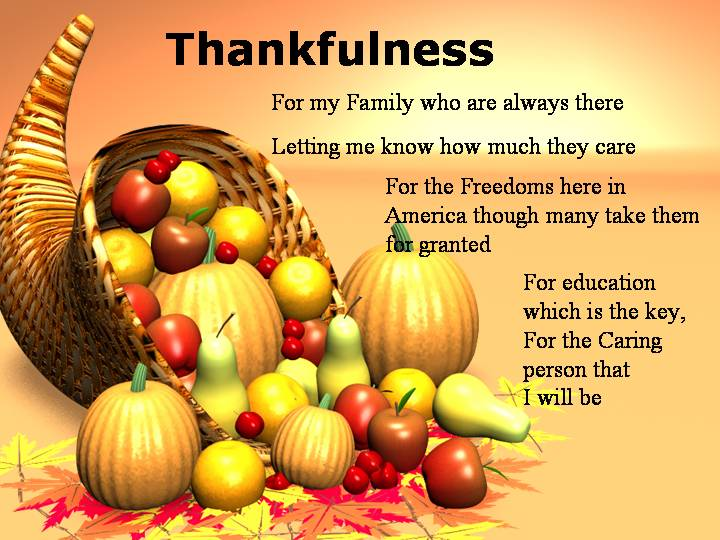 Thankfulness Thanksgiving Poems