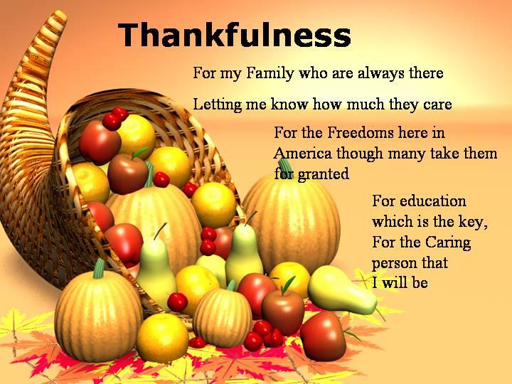 Thankfulness Thanksgiving Poems