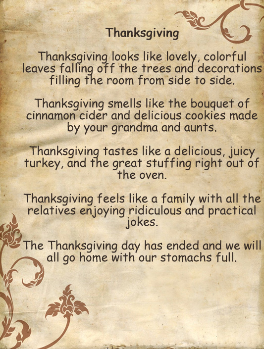 Thanksgiving Poems for Church, Kids, Preschoolers, Inspirational