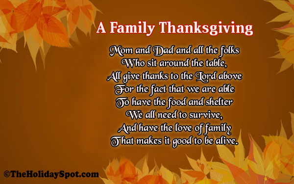 Thanksgiving Poems for Family