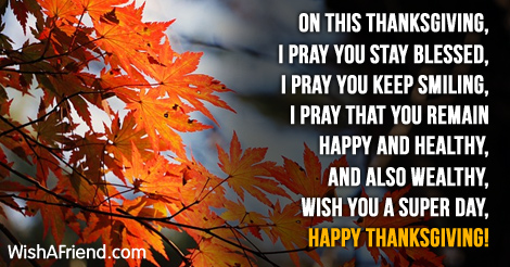Thanksgiving Greetings Message to Friends