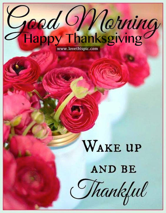 Good Morning Happy Thanksgiving Wake Up And Be Thankful Image