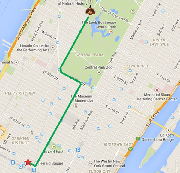 Macy's Thanksgiving Day Parade Router Map Image